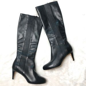 Cole Haan Nike Air Black Leather Knee High Boots
